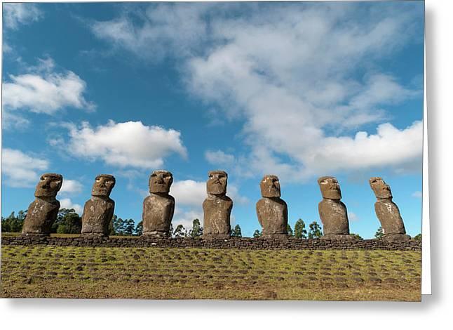 Ahu Akivi, Rapa Nui, Easter Island Greeting Card by Sergio Pitamitz