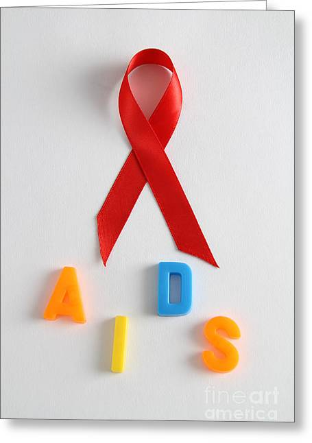 Human Awareness Greeting Cards - Aids Awareness Symbol Greeting Card by Photo Researchers, Inc.