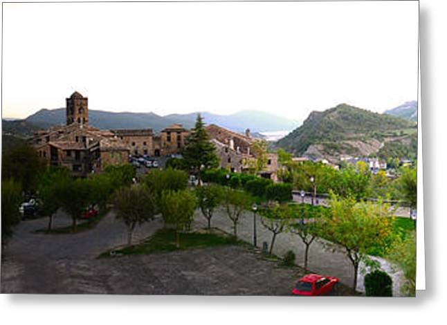 Entrance Door Greeting Cards - Ainsa Village Landscape Greeting Card by Stefano Piccini