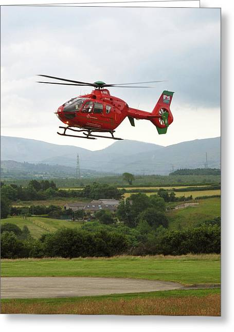 Air Ambulance Taking Off From Helipad Greeting Card by Cordelia Molloy