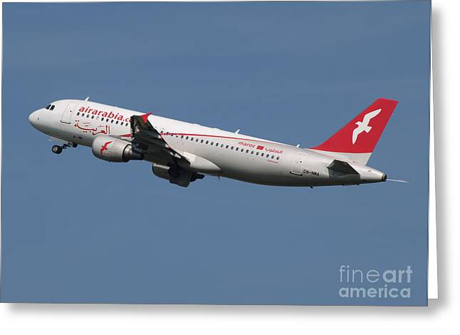 Klm Greeting Cards - Air Arabia Maroc Airbus A320 Greeting Card by Paul Fearn