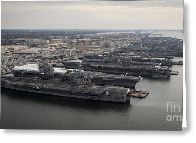Enterprise D Greeting Cards - Aircraft Carriers In Port At Naval Greeting Card by Stocktrek Images