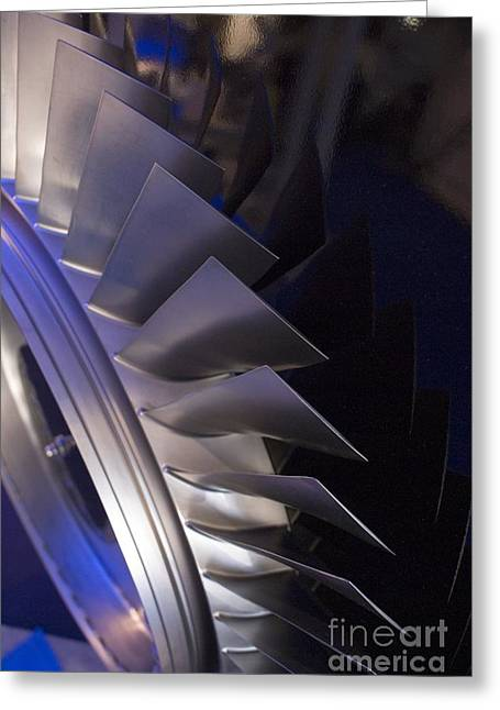 Tech-art Greeting Cards - Aircraft Engine Fan Blades Greeting Card by Mark Williamson