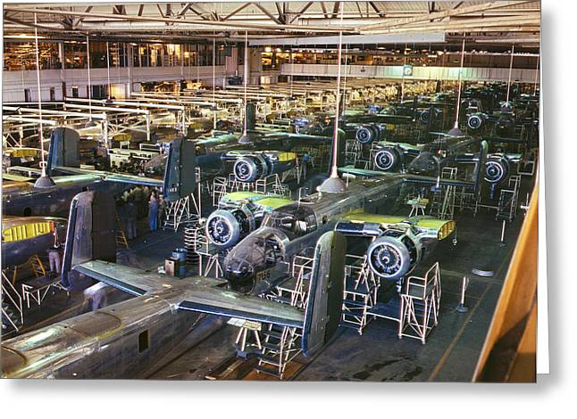B25 Photographs Greeting Cards - Aircraft Factory, 1942 Greeting Card by Granger