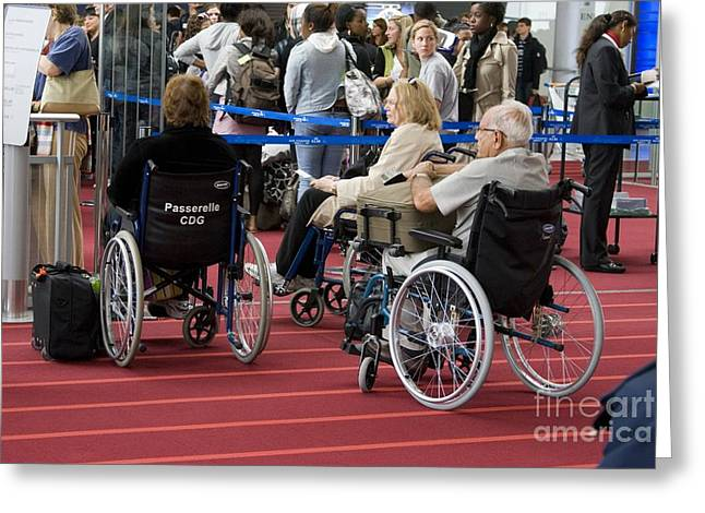 Disability Greeting Cards - Airline Passengers In Wheelchairs Greeting Card by Mark Williamson