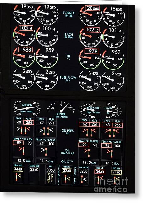 Fuel Gauge Greeting Cards - Airplane Control Panel Display Greeting Card by Mark Williamson