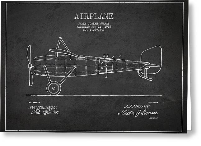 Airplane Greeting Cards - Airplane Patent Drawing from 1918 Greeting Card by Aged Pixel