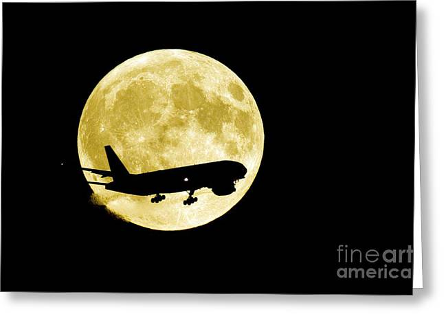 Moon Landing Greeting Cards - Airplane Silhouetted Against A Full Moon Greeting Card by David Nunuk