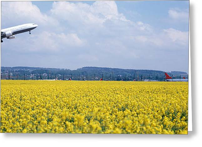 Overcast Day Greeting Cards - Airplane Taking Off, Zurich Airport Greeting Card by Panoramic Images