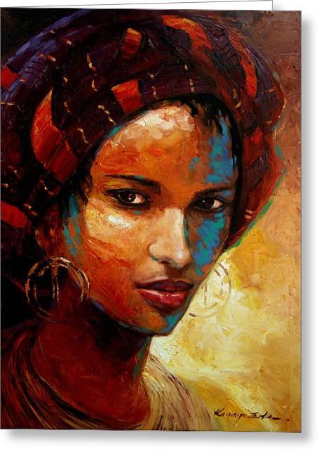 Ethnic Print Greeting Cards - Aisha Greeting Card by Kanayo Ede