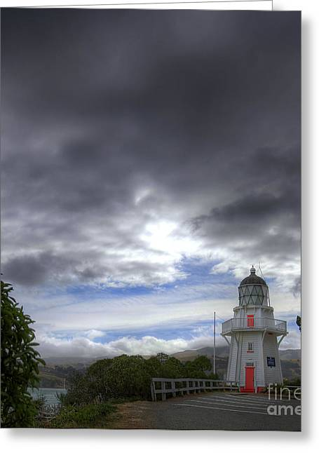 Himmel Greeting Cards - Akaroa Lighthouse Greeting Card by Fabian Roessler