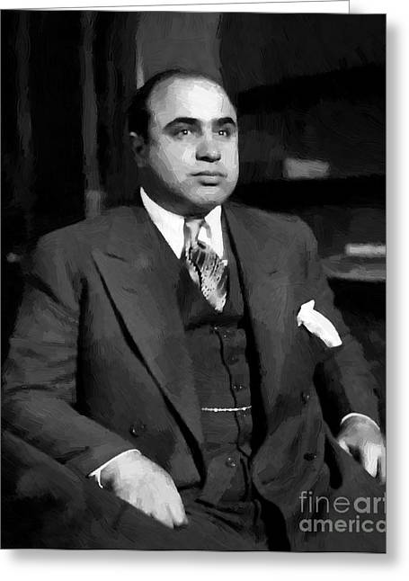 Fbi Mixed Media Greeting Cards - Al Capone - Scarface Greeting Card by Michael Braham
