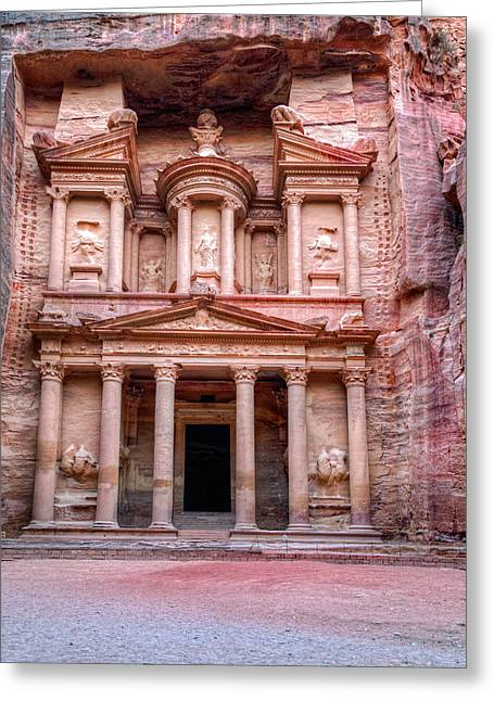 Petra Greeting Cards - Al Khazneh Greeting Card by Alexey Stiop