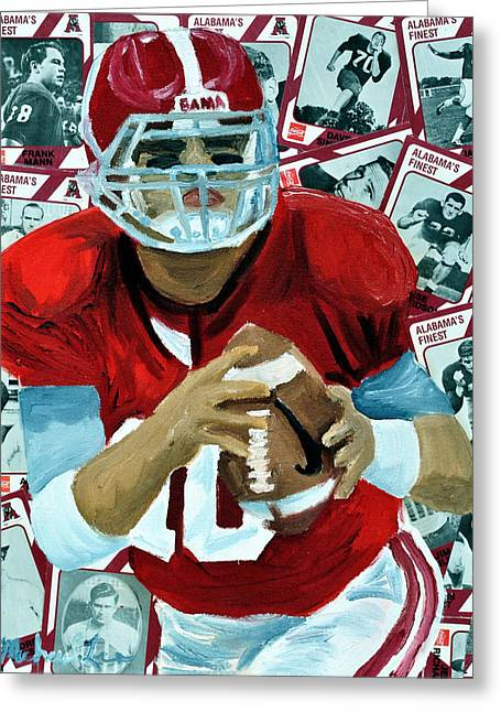Crimson Tide Mixed Media Greeting Cards - Alabama Quarter Back #10 Greeting Card by Michael Lee