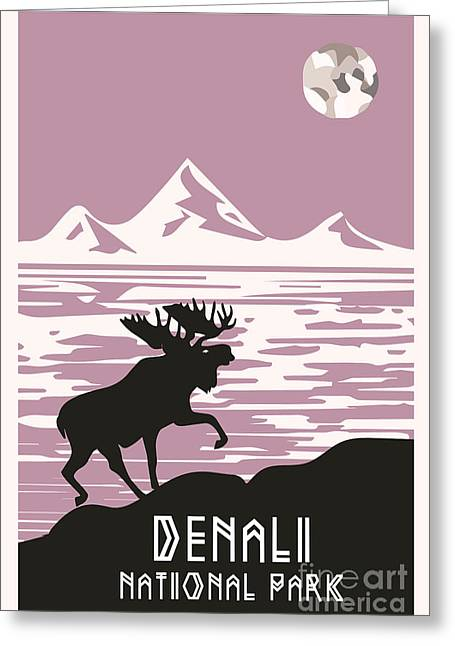 Coloured Mixed Media Greeting Cards - Alaska Denali National Park Poster Greeting Card by Celestial Images