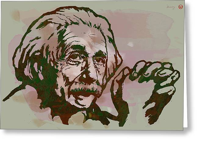Physicist Greeting Cards - Albert Einstei - Pop Stylised Art Sketch Poster Greeting Card by Kim Wang