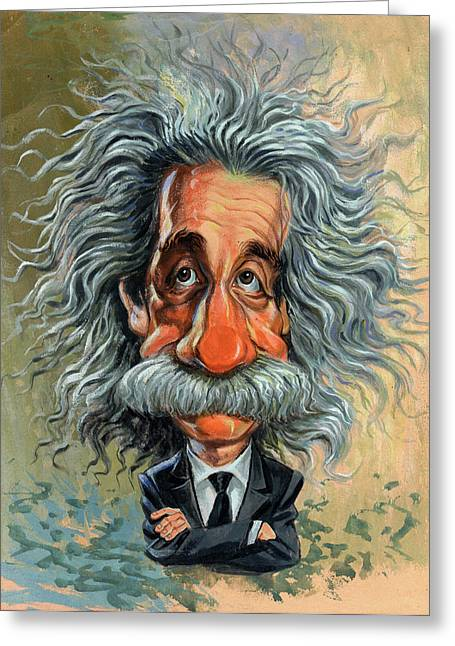 Caricatures Greeting Cards - Albert Einstein Greeting Card by Art