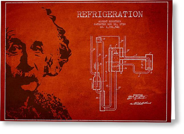 Portrait Digital Greeting Cards - Albert Einstein Patent Drawing from 1930 Greeting Card by Aged Pixel