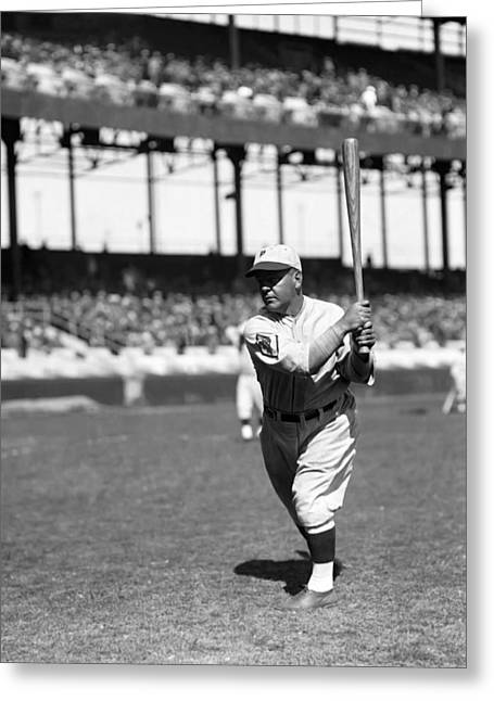 Baseball Game Greeting Cards - Albert R. Al Nixon Greeting Card by Retro Images Archive