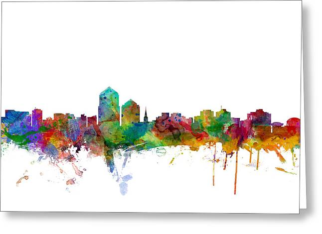 Mexico City Digital Greeting Cards - Albuquerque New Mexico Skyline Greeting Card by Michael Tompsett