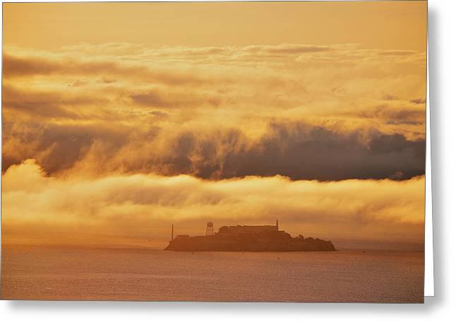 Downtown San Francisco Greeting Cards - Alcatraz Island Greeting Card by Songquan Deng