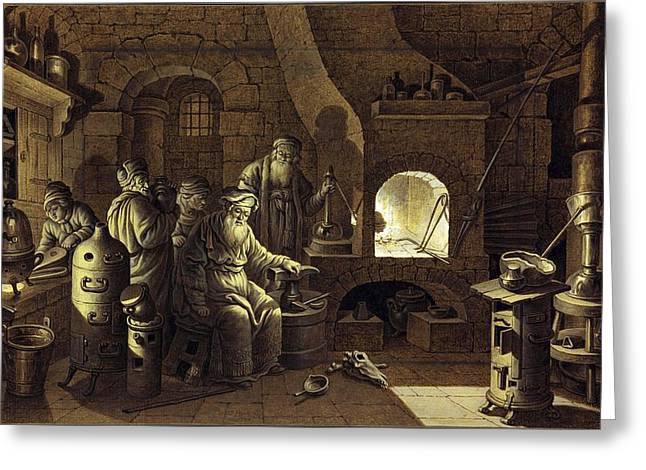 Gouache Photographs Greeting Cards - Alchemist at work, 18th century Greeting Card by Science Photo Library