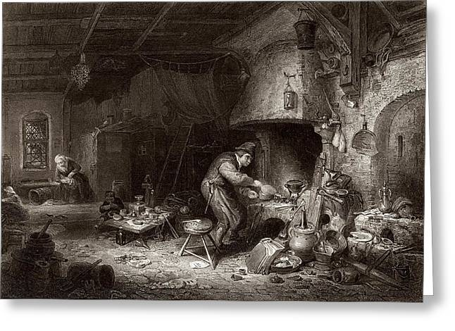 17th C Greeting Cards - Alchemist at work, 19th century Greeting Card by Science Photo Library