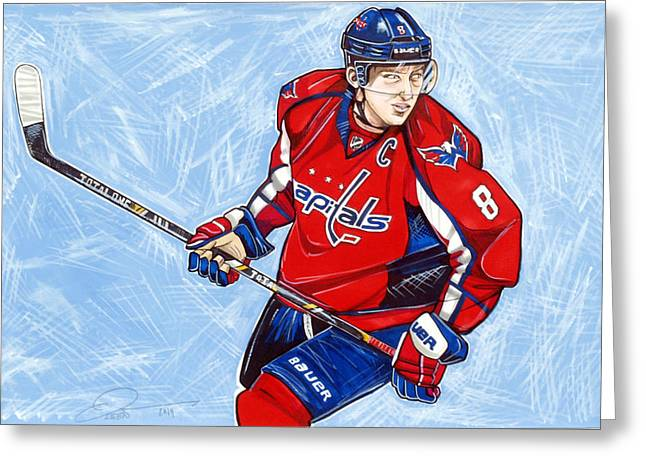 Alexander Ovechkin Greeting Card by Dave Olsen