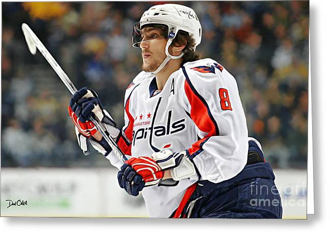Reebok Greeting Cards - Alexander Ovechkin Greeting Card by Don Olea