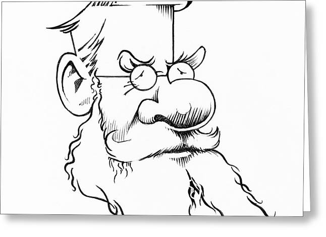Human Survival Greeting Cards - Alfred Wallace, Caricature Greeting Card by Gary Brown