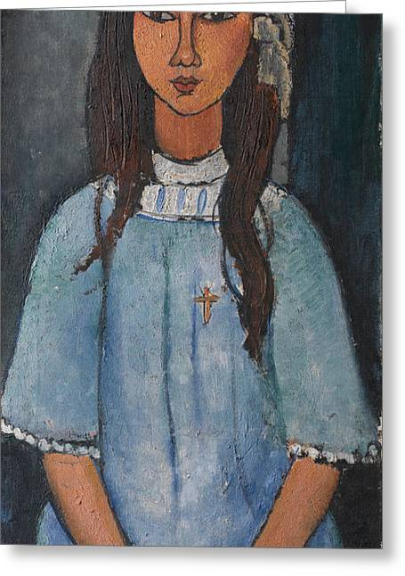 Modigliani Drawings Greeting Cards - Alice Greeting Card by Celestial Images