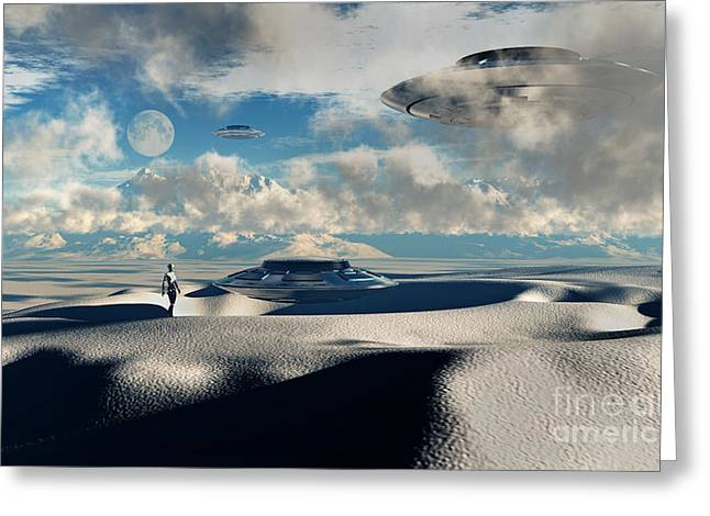 Fantasy Creature Digital Greeting Cards - Alien Base With Ufos Located Greeting Card by Mark Stevenson