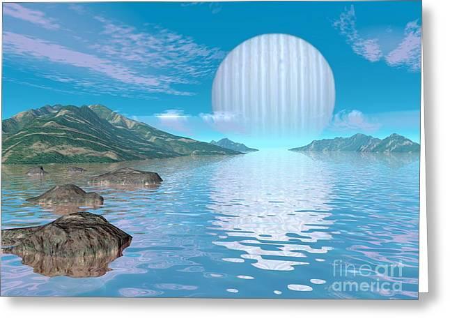 Ocean Vista Greeting Cards - Alien Eden, Conceptual Artwork Greeting Card by Walter Myers