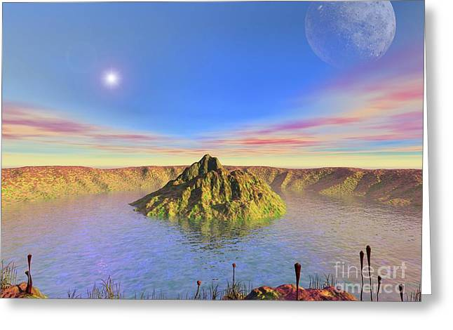 Crater Lake Artwork Greeting Cards - Alien Lake, Conceptual Artwork Greeting Card by Walter Myers
