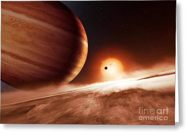 Extrasolar Planet Greeting Cards - Alien Landscape And Planets, Artwork Greeting Card by Detlev Van Ravenswaay