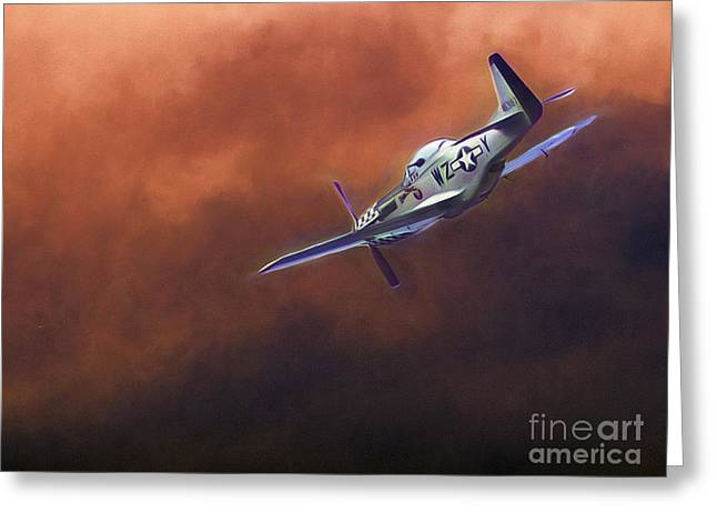 P-51 Mustang Photographs Greeting Cards - All By Myself  ...  Greeting Card by Chuck Caramella