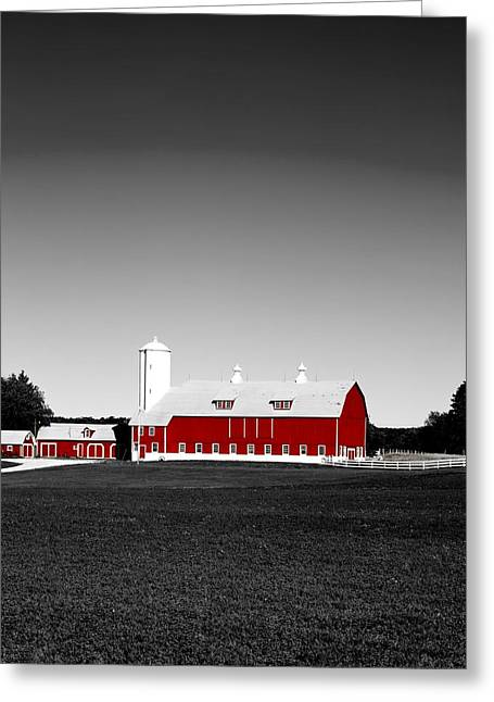 Wisconsin Landscape Greeting Cards - All Red on a Wisconsin Farm Greeting Card by Mountain Dreams