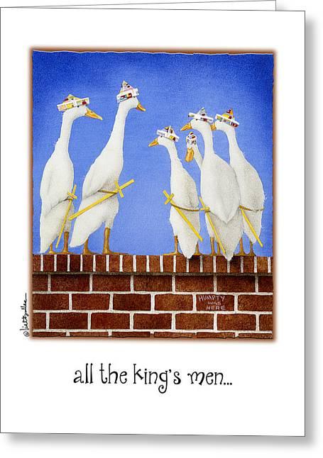 Nursery Rhyme Paintings Greeting Cards - All The Kings Men... Greeting Card by Will Bullas