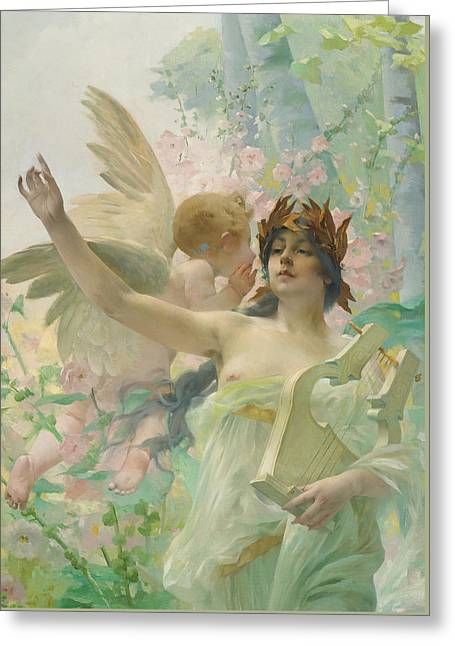 Allegory Of Music Greeting Card by Paul Francois Quinsac