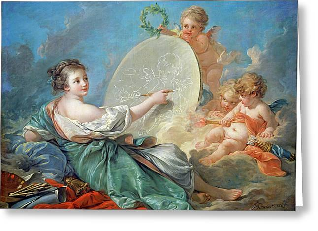 Francois Boucher Greeting Cards - Allegory of Painting Greeting Card by Francois Boucher