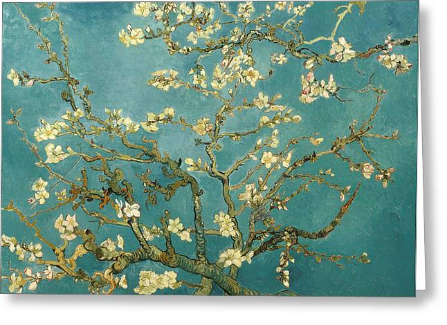 Mist Paintings Greeting Cards - Almond Blossoms Greeting Card by Vincent van Gogh