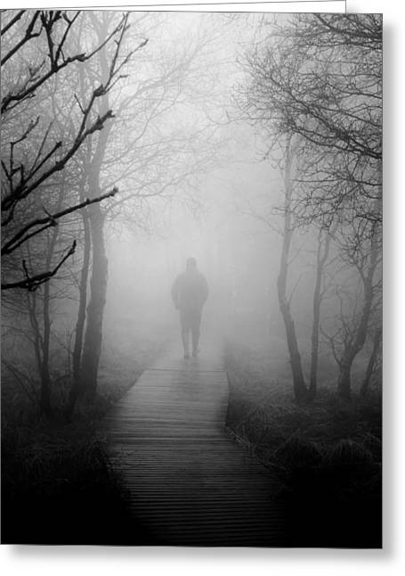 Moist Greeting Cards - Alone in the Fog Greeting Card by Mountain Dreams