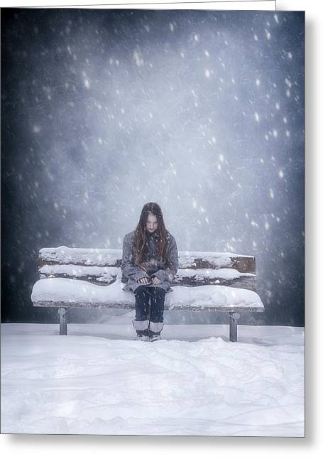 Snow-coated Greeting Cards - Alone In The Snow Greeting Card by Joana Kruse