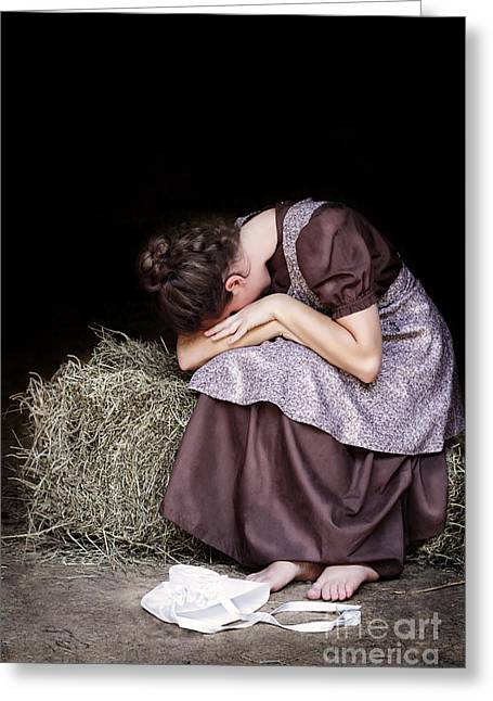 Woman Crying Greeting Cards - Alone Greeting Card by Stephanie Frey