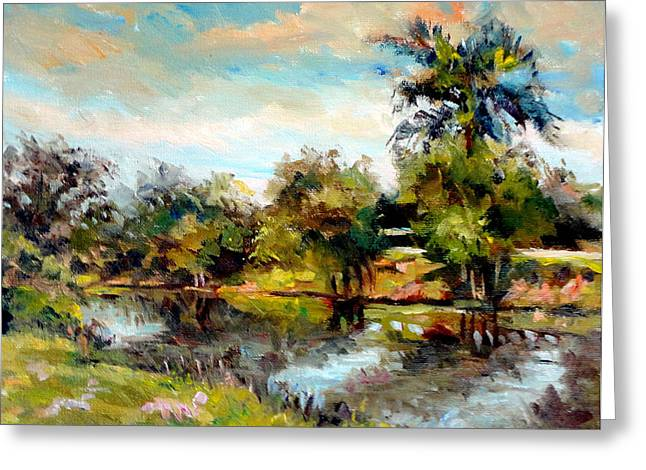 Mountain Climbing Art Print Paintings Greeting Cards - Along the Canal Greeting Card by Mark Hartung