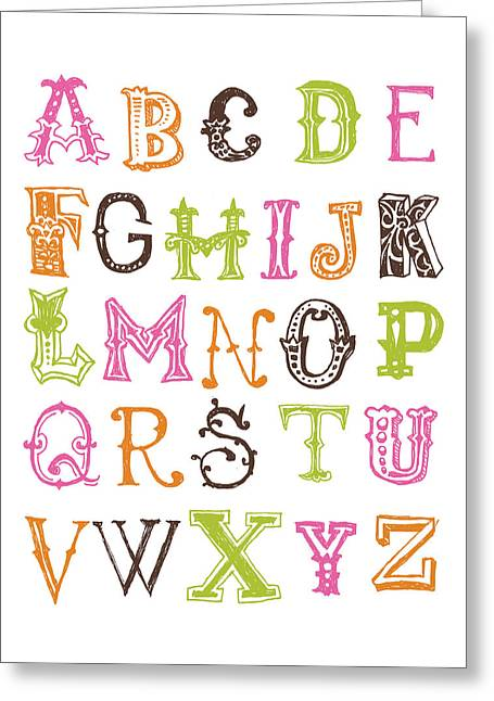 Bridal Shower Greeting Cards - Alphabet Poster Greeting Card by Jaime Friedman