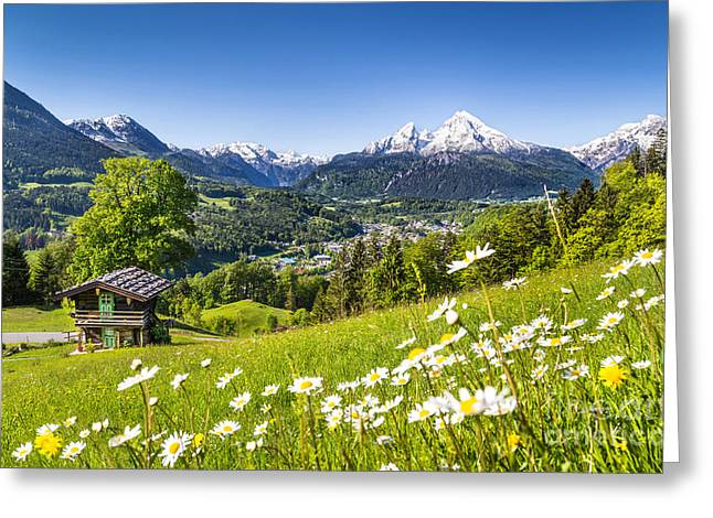 Hill Top Village Greeting Cards - Alpine Beauty Greeting Card by JR Photography