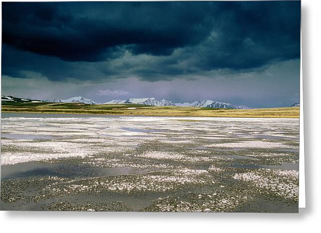Sullen Greeting Cards - Altay Lakes  Kaldzhin Kol Greeting Card by Anonymous