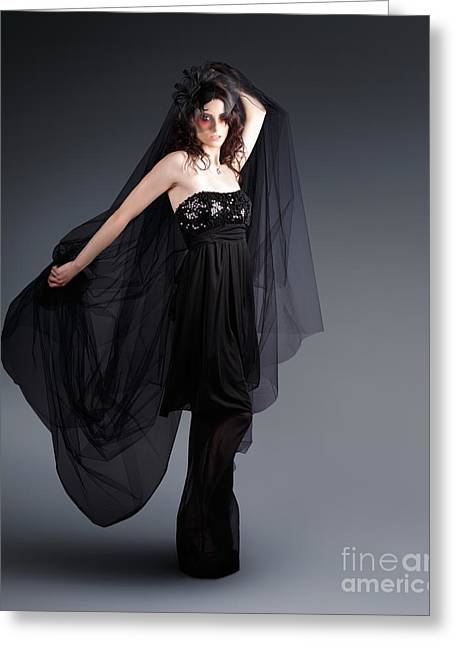 Youthful Photographs Greeting Cards - Alternative Fashion Model With Black Lace Dress Greeting Card by Ryan Jorgensen