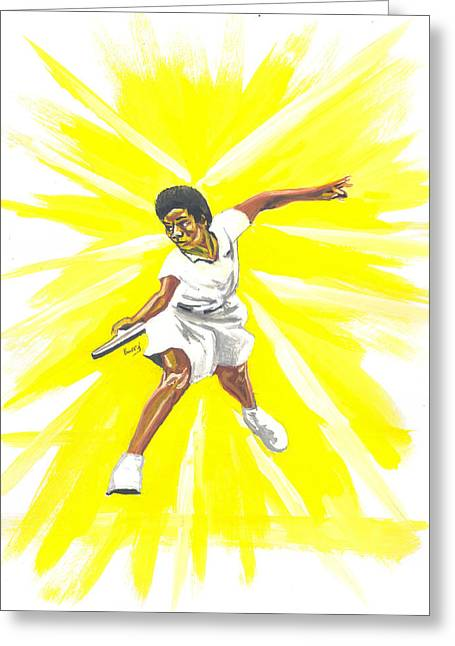 Althea Paintings Greeting Cards - Althea Gibson Greeting Card by Emmanuel Baliyanga